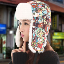 2017 Bomber Hat Faux Fur Lining Earflap Outdoor Windproof Thick Warm Winter Snow Hat Cartoon Printed Fashion Bomber Cap KH874025(China)