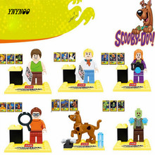 YNYNOO 6pcs Cute Cartoon Movie Scooby Doo Dog The host Sharqi Building Assemble 3D Model figures Bricks Blocks Kids Toy Gifts