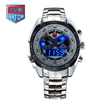 TVG Stainless Steel Luxury Black Men's Clock Fashion Blue Binary Sports LED Watch 30AM Waterproof Watches