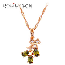 Delicate Flower Design Light Green Crystal gold tone Peridot Necklaces & Pendants Wholesale & Retail Fashion Jewelry LN509