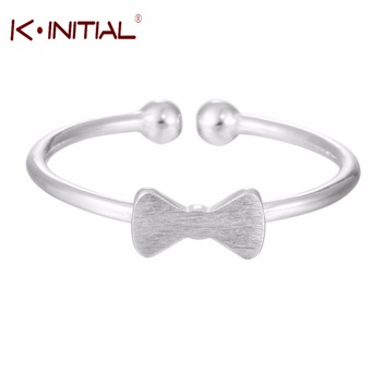 Kinitial 1Pcs 925 Silver Wedding Rings Bow Knot Ring For Women Girls Statement Adjustable Finger Double Ball Ring Jewelry Bijoux