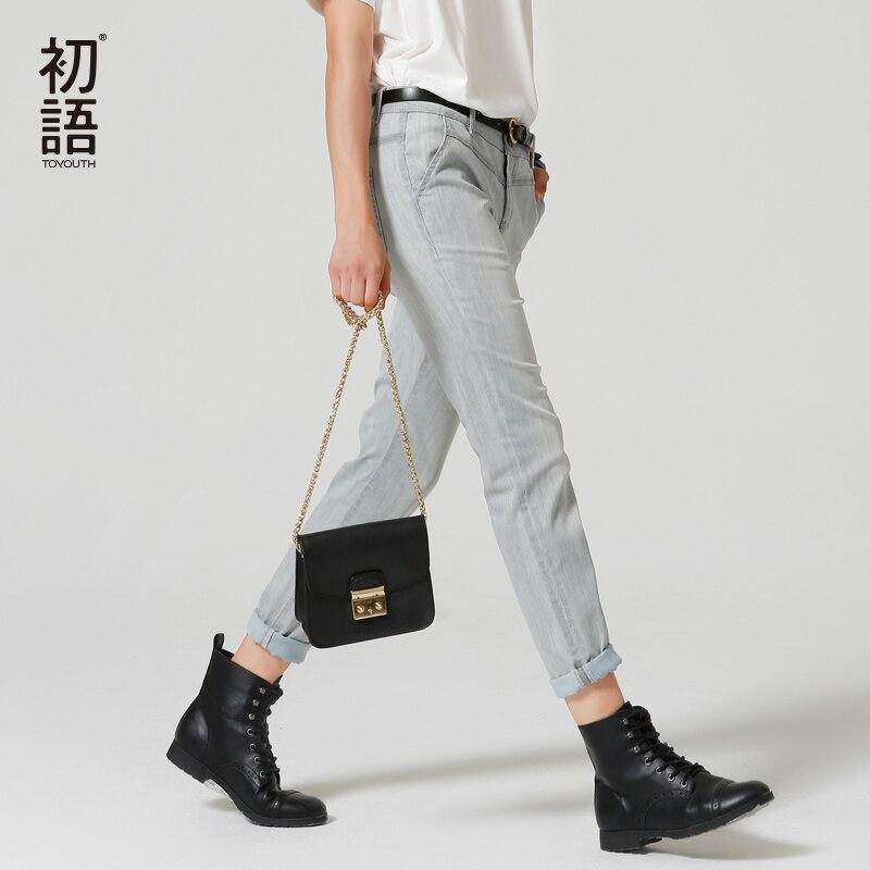 Toyouth 2017 New Arrival Women Cotton Vintage Full length Jeans Autumn Pockets Button Pencil PantsÎäåæäà è àêñåññóàðû<br><br>