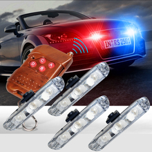 DC 12V White Amber Red Blue 12LED DRL Car External Strobe lights Wireless Remote Flash Grille Emergency Warning Fog Light