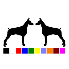 HotMeiNi 2 Doberman Pinscher dog breed RIGHT LEFT silhouette vinyl decals stickers(China)