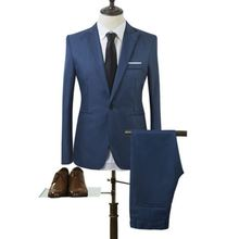 2017 New Designs Coat and Pant Suit Men Solid Color Wedding Tuxedos For Men Slim Fit Mens Suits Korean Fashion (Jackets+Pants)(China)