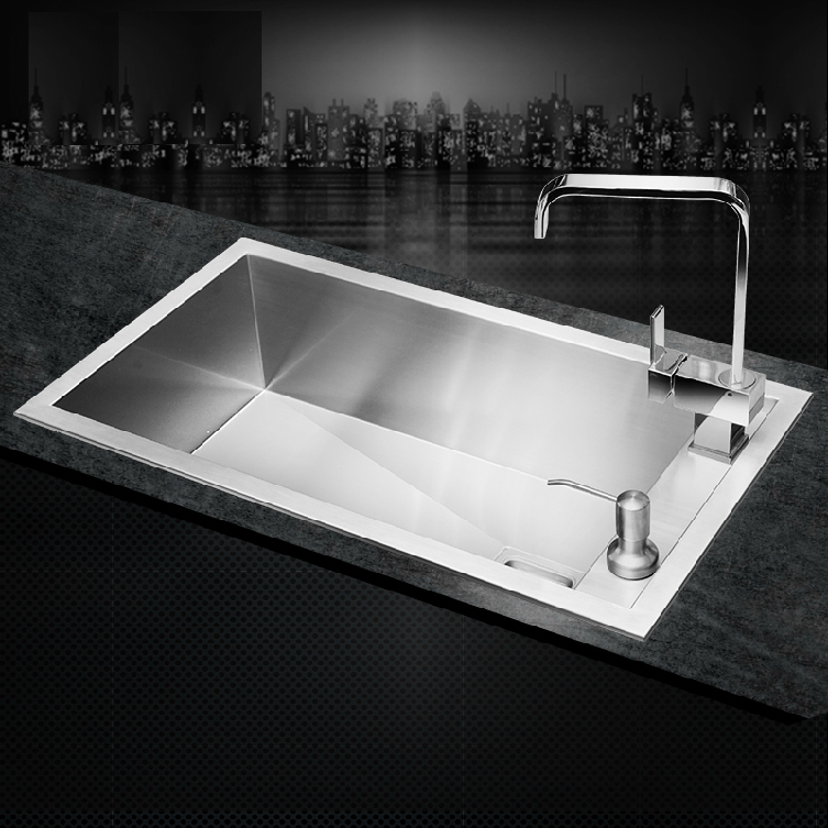 sus304 stainless steel kitchen sink single holes under mount hand made sinks surface brushed cheap good - Kitchen Sinks Cheap Prices
