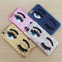 Fashion Chiara Ferragni Sequins Glitter Bling 3D Big Blinking Eyes Case for iPhone 6 6s Plus 7 7Plus Fundas Hard Back Cover bags