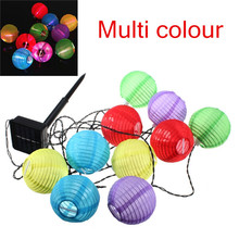 10 LED Solar Power Chinese Lantern Garden String Lights Lamp for Wedding Party Holiday Decoration White Colorful hanging light