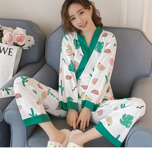 732745c183 Cute Ladies Home Clothing Japanese Style Kimono Shirt+Pant 2PCS Satin Sexy  Sleepwear Casual Print