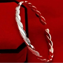 Fashion Silver Plated Twist Net Cuff Bangle Bracelet Bracelets Charming Elegant Round Metal Cuff Bangles Gifts