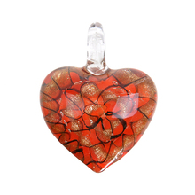 New Red Unique Lampwork Murano Art Glass Heart Pendant Necklace For Women Gift Handmade P276