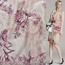 China style wine red floral print silk Crepe DE chine fabric 16momme 114cm width by yard,SCDC579(China)