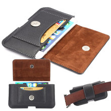 For iPhone 4 4s 5 5s SE 7 6 6s plus Phone Case Hip Belt Clip Cover Dual Pouch Credit Card Bag Holster Black Flip PU Leather