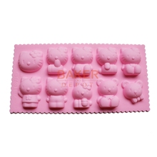 Silicone chocolate mold Cake decorating tools molds 10 lattices hello kitty easily bear series dessert moulds  CDSM-189