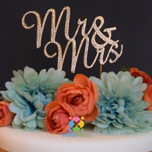 "Mr & Mrs Cake Topper Silver Gold Rhinestone Cake Topper Mr and Mrs Wedding Anniversary Cake Decoration Stand 5"" wide 4"" long"