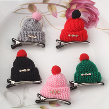 2017 Hot 1 PC Lady Girl's Wool Hat Cap Hair Clip Women Rhinestone Hairpins Hair Accessories 9 Colors Kids Barrettes Headwear(China)