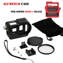 For GoPro accessories Aluminium Mount Frame Housing Case Protect shell + 52MM UV Lens For Gopro Hero 5 Go Pro 5 blcak Camera(China)