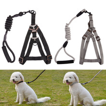 Adjustable Pet Dog Nylon Rope Collars + Lead Leash Harness Chest Strap Comfortable Breathable Pet Dog Puppy Leashes S/M E#CH(China)