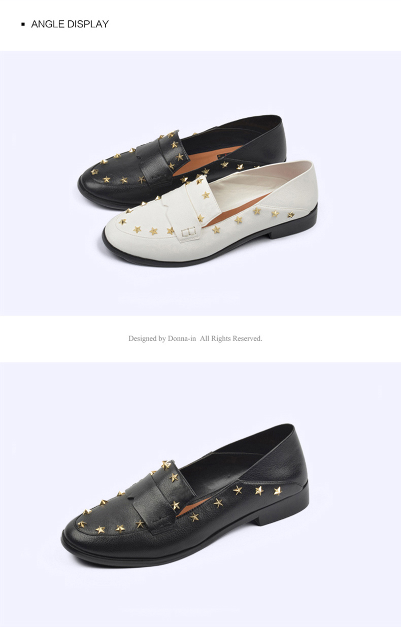 Donna-in Brand Flats Shoes Women Genuine Leather Loafers Slip on Mules low Heels Round Toe Casual Pentagram Ladies Shoes Autumn (10)