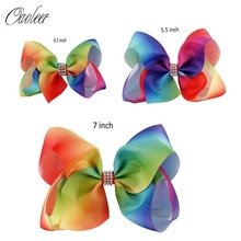 "6pcs/lot 7""5.5""4.5"" Rainbow Ribbon Silver Rhinestone Hair Bow With Clip For Girls Boutique Rainbow Hair Accessories For Kids()"