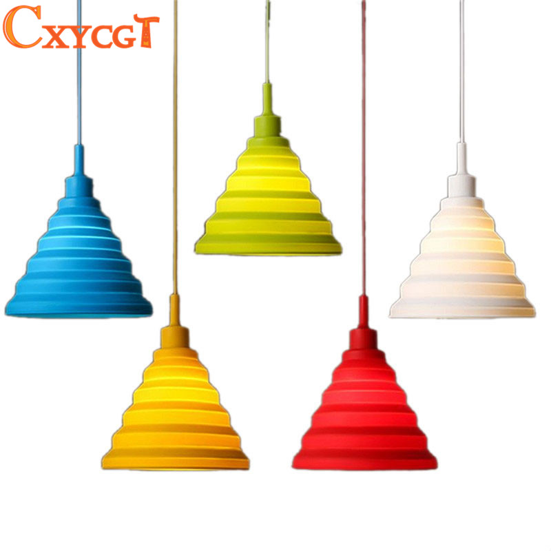Multicolor Pendant Lights Colorful Led E27 Foldable Lampshade for Dining Room Kitchen Decor<br><br>Aliexpress