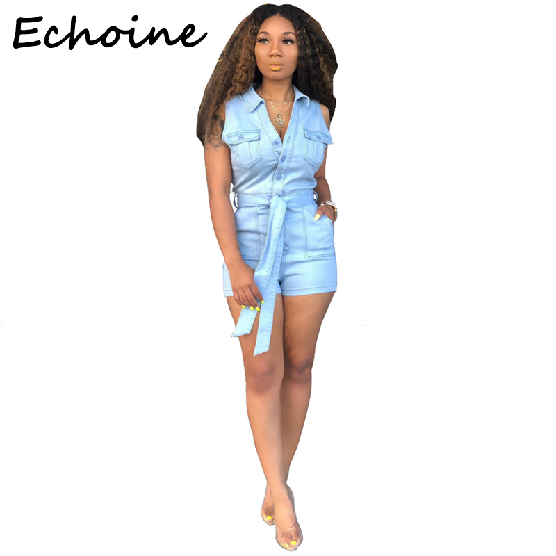 Echoine Fashion Cowboy Jumpsuit Bodycon Sleeveless With Belt Pocket Turn Down Color Short Rompers Womens Jumpsuit Overalls