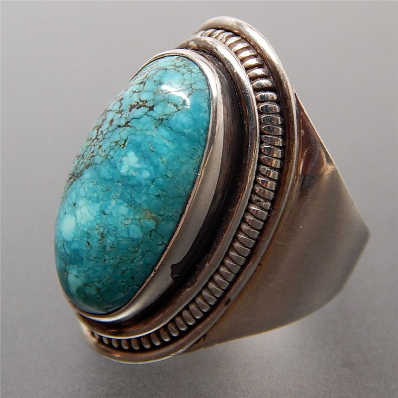 Retro Oval Crack Turquoise Bead Tibetan Silver Carved Open Bracelet Bangle Gifts