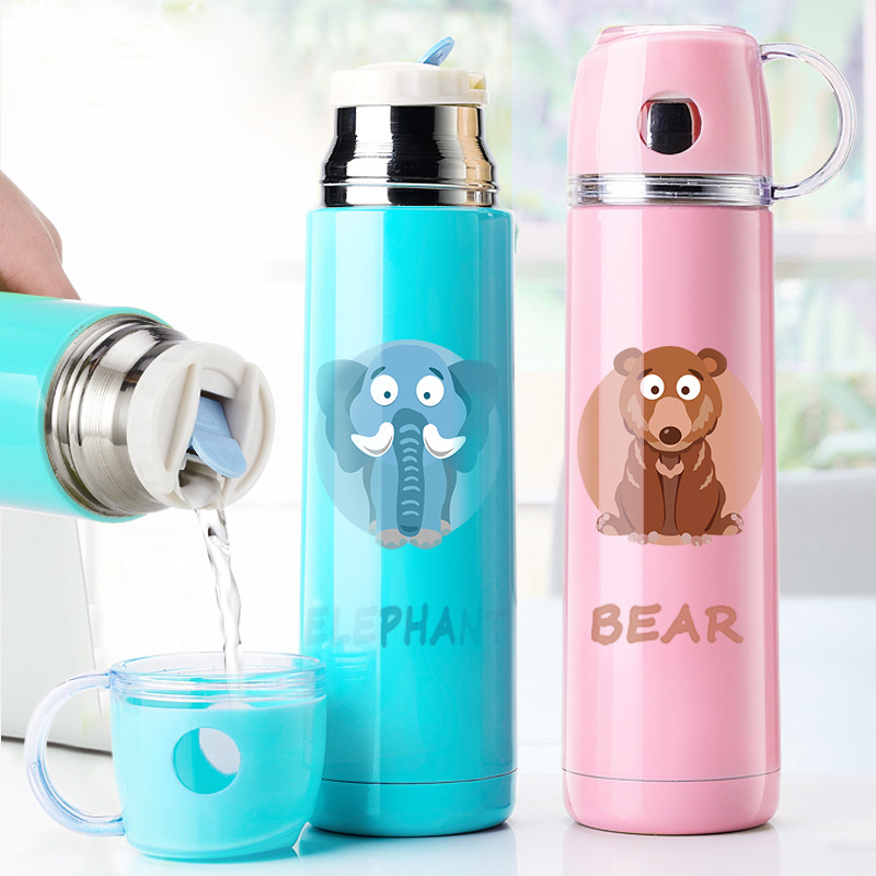 1 PC 500ml Sport Water Bottle Cute Portable Vacuum...