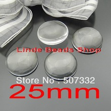 Free shipping! 50pcs 25mm clear domed magnifying round glass cabochons,photo jewelry pendant inserts GT008(China)