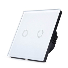 SESOO EU/UK Standard Touch Switch 2 Gang 1 Way Wall Light Touch Switch-Crystal Glass Switch Panel(China)