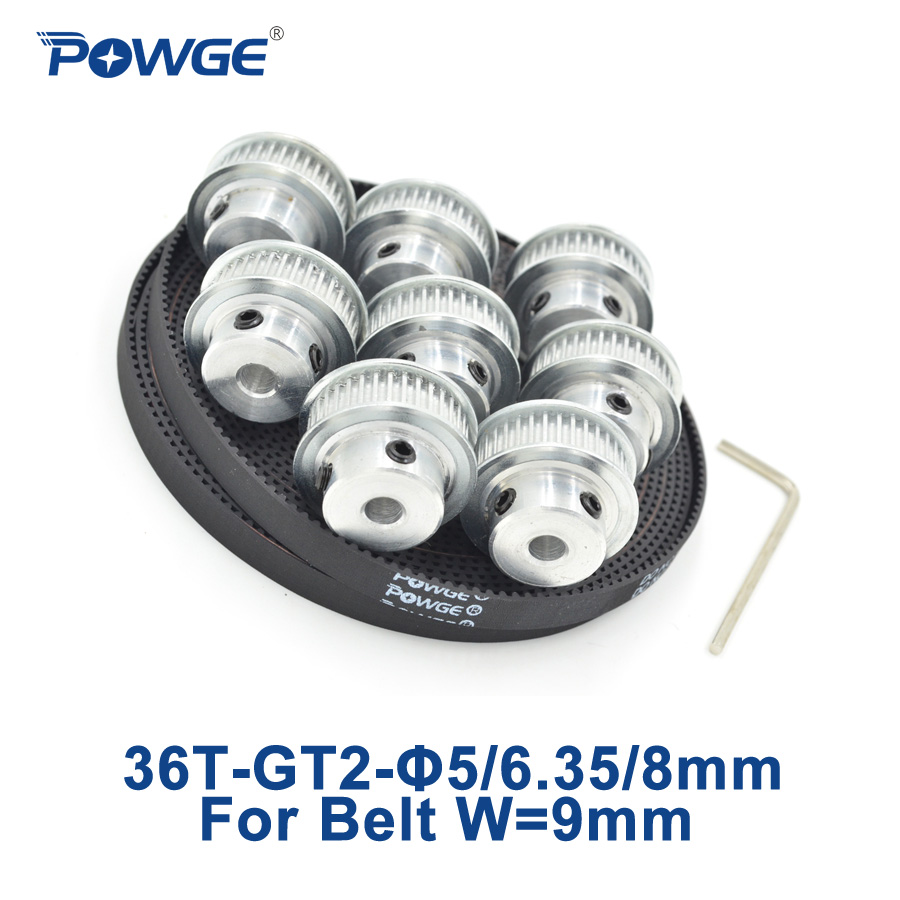POWGE 8pcs 36 teeth GT2 Timing Pulley Bore 5mm 6.35mm 8mm + 5Meters width 9mm GT2 open Synchronous Belt 2GT pulley 36Teeth 36T<br>