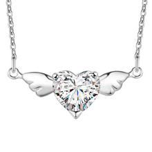 WHOLESALE New Arrivals silver Fashion pendant Necklaces Crystal Angel Wing cz stone shining bling women lady gift 18inch rolo