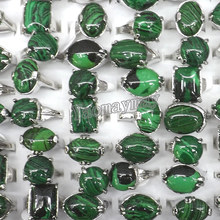 50pcs/lot Mixed Lot Malachite Rings For Men Semi-precious Stone Jewelry Free Shipping