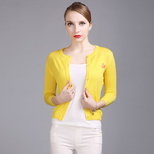 Swan Appliques Knitting Cardigans Female Sweaters Woman O-neck Casual Cardigan Yellow Poncho Women pull femme Coat ZZS1702066