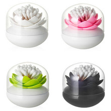 Cute Lotus Flower Shape Cotton Bud Holder Base Toothpick Storage Box