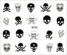 1 Sheet Nail MT23 Black White Sword Skull Fashion Nail Art Water Transfer Sticker Decal For Nail Tattoo Tips Nail Tool