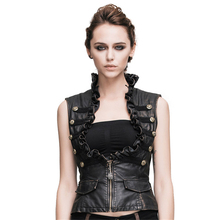 Steampunk Women's Leather Vests Gothic Slim Fit Brush Color Thoracotomy Waistcoat Victorian Sleeveless Vest