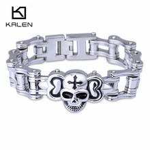 China Manufacturer Kalen 316L Stainless Steel Bike Chain Bracelet Punk Rock Skull Charm Motorcycle Chain Men's Bracelet Gift(China)
