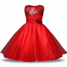 Red Flower Princess Wedding Dress Girl Sequin Tulle Dresses Children Clothing Ball Gown Girls Clothes Kids Party Dresses Summer