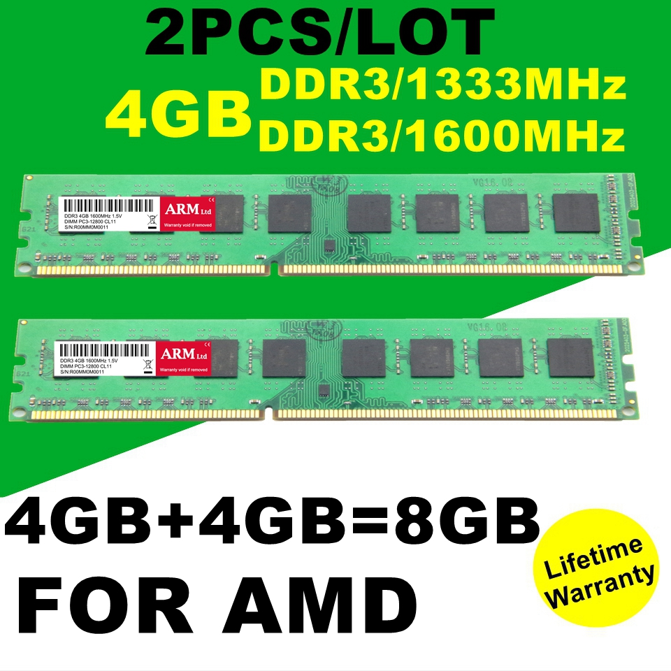 Wholesale NEW Brand 2PCS/LOT 4GB+4GB=8GB DDR3 1333MHz 1600MHz RAMS Memory For Desktop PC Memory PC3 AMD System<br><br>Aliexpress