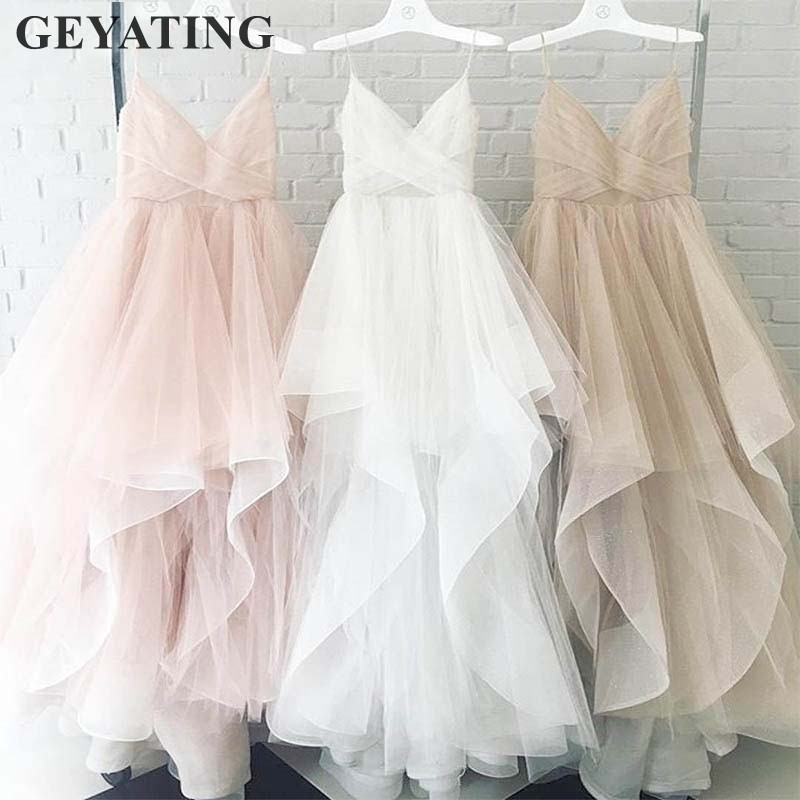 Simple White Tulle Blush Pink Wedding Dress 2019 Real Photos Spaghetti Straps Champagne Backless Boho Beach Wedding Dresses New
