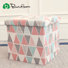Butihome Printed Square Folding Storage Box With A Lid Polyester Clothing Organizer Chair Stool Seat Office Supplies Storage Box