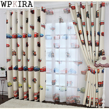Eco-friendly bedroom cartoon car curtain yarn child bedroom tulle finished product jacquard window kids sheer curtains 228&20