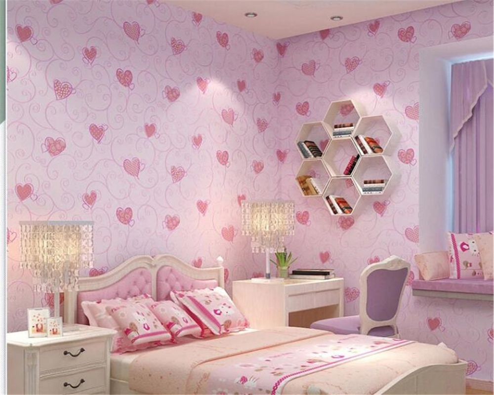 beibehang Modern classic wallpaper fashion cute blue pink love boys and girls room bedroom nonwoven papel de parede 3d wallpaper<br>