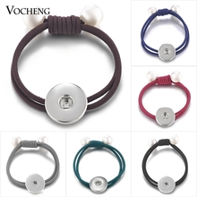 Vocheng Ginger Snap Jewelry Simulated pearl Ponytail Holder Elastic Hair  Bands 6 Colors for 18mm Button 7dbb985dadc2