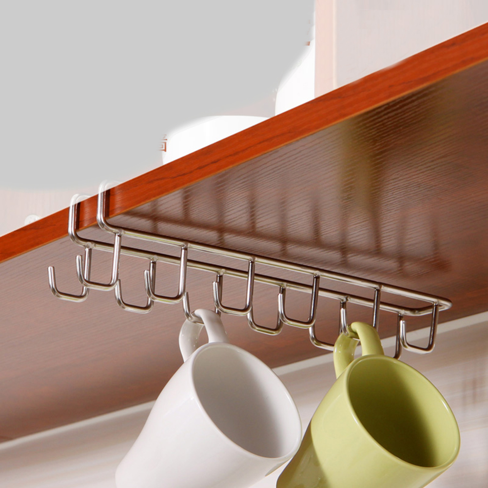 Enipate 6 Hooks Double row Cup Holder Hang Kitchen Cabinet Under Shelf Storage Rack Dish Hanger Chest Storage Kitchenware Shelf(China (Mainland))