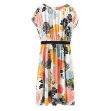 2017 new spring fan in Europe floral print short sleeved dress dress casual loose