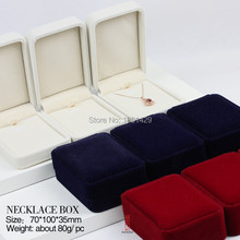 6pc/Lot Blue Red White Velvet Jewelry box necklace case pendant jewellery casket For Present Gift  jewellery Packing for earring