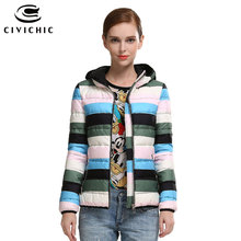 CIVICHIC High Grade Autumn Winter Warm Coat Woman Color Striped Short Down Jacket Casual Soft Hooded Eiderdown Outer Wear DC552