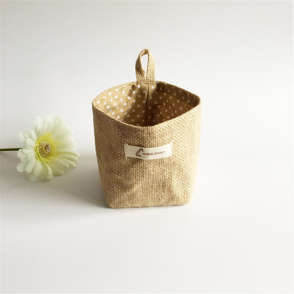 Linen Woven Storage Basket Polka Dot Small Storage Sack Cloth Hanging Non Woven Storage Basket Buckets Bags Kids Toy Box (6)